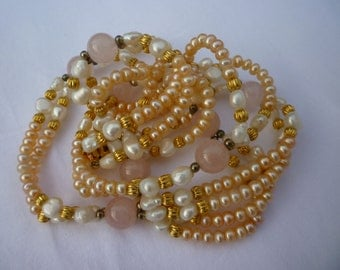 Vintage Faux PEARL,GLASS and Gold BEADED beaded Double String Necklace Valentines Gift