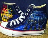 CUSTOM SHOES KAILA Hand Painted Harry Potter Shoes  - Hogwarts Crest/ Hogwarts Castle