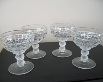 Vintage Pressed Glass Ice Cream/Pudding/Fruit/Dessert Cups, Set of Four