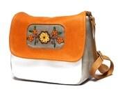 SALE Mini messenger bag, messenger purse, leather bag, leather purse, cross body purse bag, embroidery folk bag, satchel purse bag