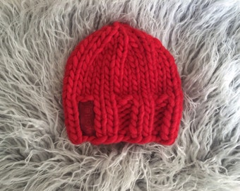 Cherry Red Knit Baby Hat