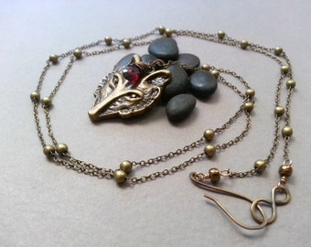 Fairy Tale Wolf Necklace, Vintage Antiqued Brass, Wire Wrapped Faceted Garnet Briolette, Romantic Dream Fantasy Jewelry, Bohemian