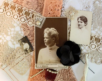 Vintage Supplies* Peach Inspiration Kit*Doily, Lace, Sepia Photo, Pearl Jewelry, Velvet Millinery