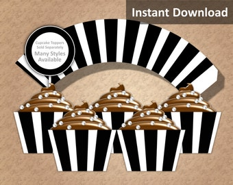 Black, White Stripe Cupcake Wrapper Instant Download, Party Decorations