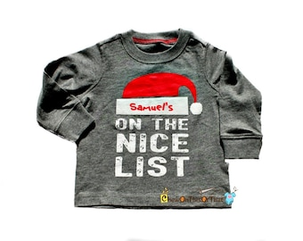 On The Nice List - Long Sleeved Gray Tee Shirt Personalized Santa Hat with Baby's Name