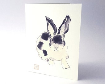 Rabbit Black and White Blank Art Note Card Set of 8 A2 Size