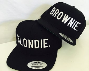 Blondie and Brownie Snapback Hat Black and White Best Friends Blonde Brunette