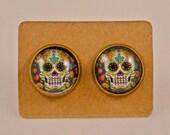 Skull Jewelry // Gifts for Her // Day of the Dead// Halloween // Festive White Sugar Skull // Candy Skull Antique Bronze Earrings