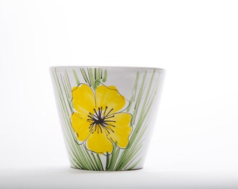 Watercolor Flower Pot Yellow Flower Mid Century 1960s