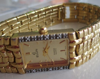 Vintage ELGIN Diamond Quartz Watch and Gold Link Band, 7 1/2 Inches In length, Mother's Day Gift, Gift For Her, Birthday Gift, Anniversary