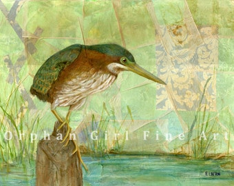 Green Heron Art, Bird Painting,  Bird Artwork, Watercolor Bird Animal Art Print Bird Wall Art Bird Illustration Heron Painting Waterfowl Art