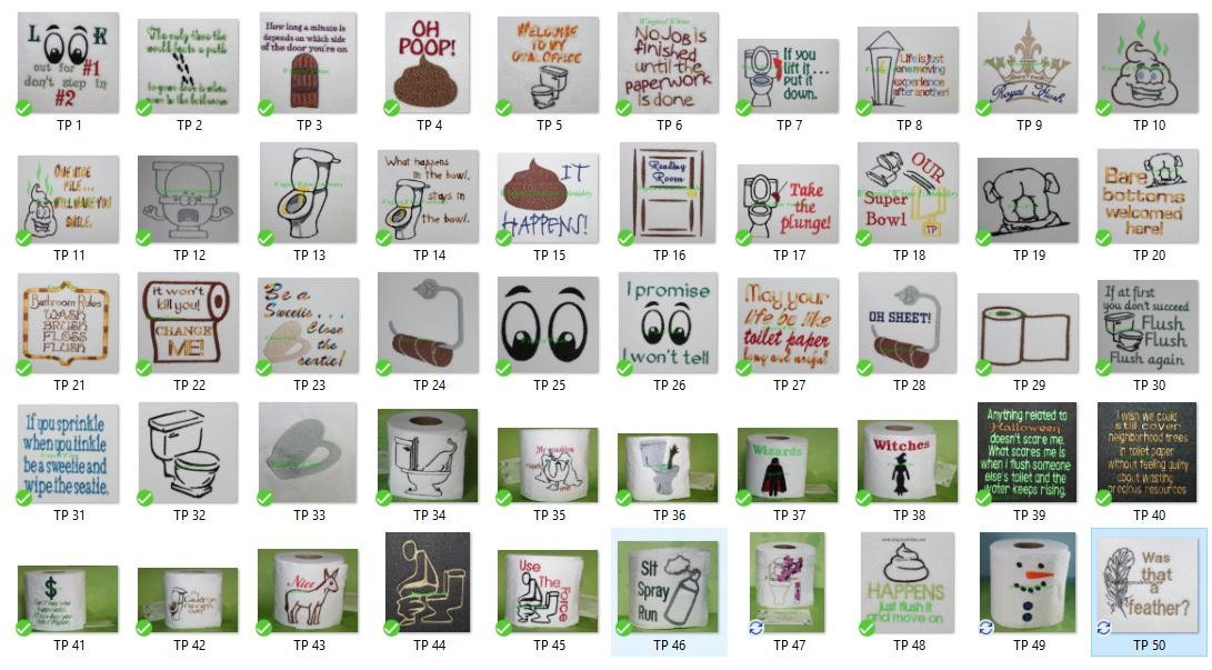 Free Toilet Paper Machine Embroidery Designs