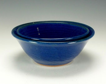 Stoneware pottery bowl set.  Large.  Cobalt blue.  Ready to ship.