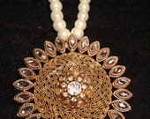 Beautiful kundan pendant with a pearl string, antique, vintage, gifts for her