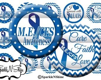 Instant Download Bottle Cap Image Sheet - M.E. / CFS Awareness - 1 inch Circles