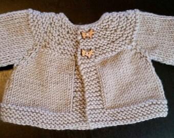 Newborn Baby Sweater/Jacket Hand Knit