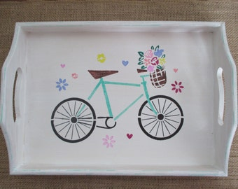 Wooden serving tray, old fashioned bicycle