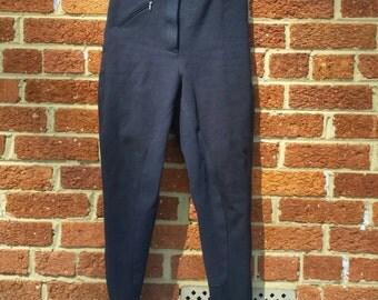 Vintage Suede Riding Pants // Equestrian // High Waist Pants Blue Suede Size 28