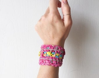 SALE Crochet Starfish Cuff Pink Boho Beach Bracelet