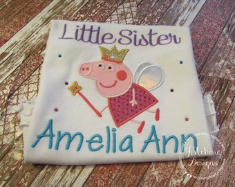 Peppa Pig Fairy Big Sister or Little Sister Birthday Custom Tee Shirt - Customizable -  Infant to Youth 312