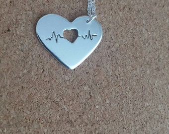 Heartbeat necklace, Sterling necklace, Ecg, Nurse gift, Heart necklace, Valentine jewelry, Ekg, Nurse, Medical necklace, Gift for her