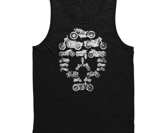 Motorcycle Collage Skull Tank Top Black