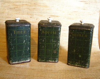 Dutch Dark Green Vintage Canister Set of 3 pieces