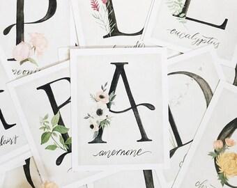 Alphabet Botanical Flash Cards// alphabet garden flowers - girls room decor - stocking filler - girly - for her