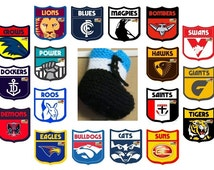 AFL Football Teams, Knitted Baby Booties, Hi Top Wool Baby Shoes, Baby Shower Gift, Baby Props, Toddler WinterSlippers