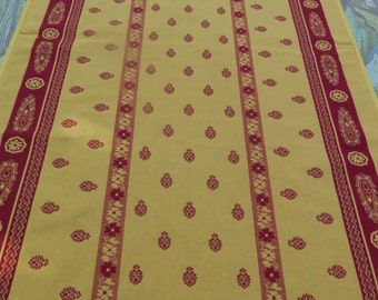Runner 100% cotton Jacquard Teflon. Fabric from  Provence , France.Reversible.Tablecloth available. red and yellow