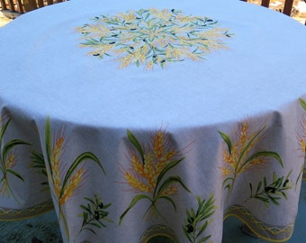 Round cotton tablecloth  with  wheat bouquet, from Provence , France. 68'' diameter.