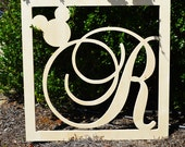 24 Inch Wooden Large Monogram with Wood Letter inserted in square border- Wall Hanging- Disney Nursery Monogram- Wood Monogram- Wall Decor