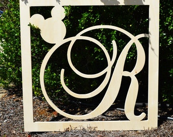 "24"" Wooden Large Monogram Mickey Mouse with Wooden Letters - Wall Hanging- Disney Nursery Monogram- Wood Monogram- Wall Decor"