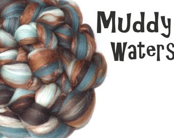 Blended Merino Bamboo tops/roving - spinning fiber - 100g - 3.5oz - Brown - Blue - MUDDY WATERS