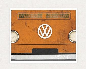Volkswagen Bus Art Print - Fine Art Collage Print Illustration