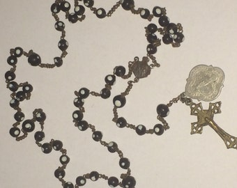 Antique purple glass rosary with white dots on beads