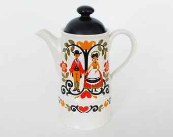 Sadler 'Folk Love' Ceramic Coffee Pot England