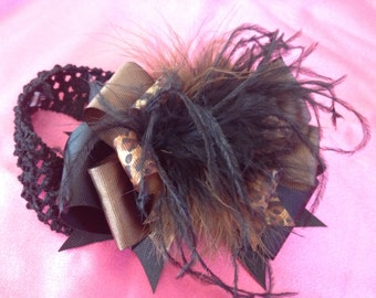 Infant headband hair bow with feathers