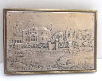 Vintage Italian .925 Sterling Silver Plaque, etched Picture