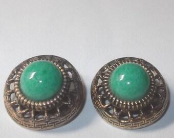 Antique Italian Clip On Earrings Versace Style Greek Key Peking Glass West Germany Green Cabochons