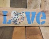 Blue floral Love sign