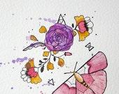 Butterfly Floral - Original Watercolour + Ink Pen Art Drawing - Size A5 - (unframed)