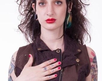 SUMMER SALE Brown  boho womens vest  , Mini vest , Under bust vest , Steampunk , Urban vest , Pixie vest ,Lace vest