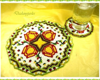 pattern bead weaving kit doily and coaster floralie