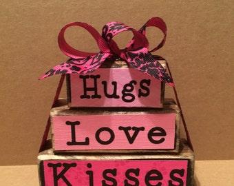Valentine's day love wooden block set, pink, hugs, love, kisses, shelf sitter