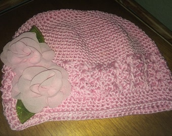 Girls Pink Chemo Hat with Pink chiffon Roses, Pink Chemo Hat with Lace Flower and Maribou Puff