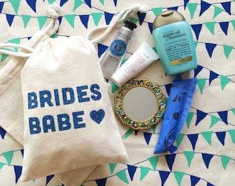Brides Babe Muslin Bag- Survival Kit- Bachelorette Kit- Hangover Kit- Bachelorette Weekend-Party Favor- Emergency Kit- Bachelorette Bag