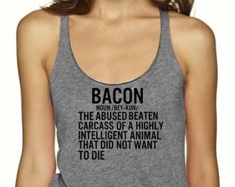 Bacon Definition Tank Top, Vegan Tank, Shirt, Womens, Animal Rights