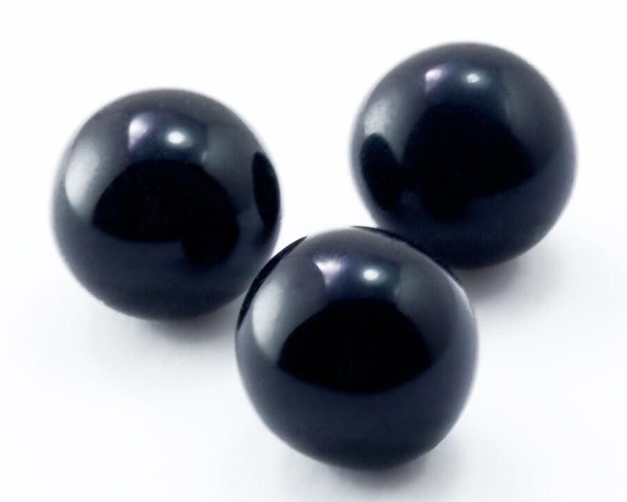 60pcs 10mm Vintage Black Glass Marbles Vintage Czech Solid