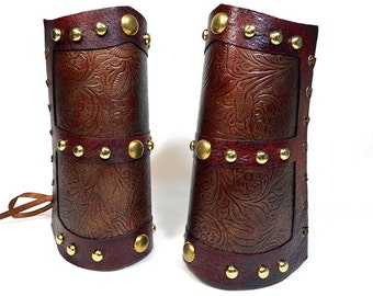 Steampunk Leather Bracers / Bronze Bracers / Armor Bracers / Floral Embossed Leather / Brass Rivets / Handmade / Cosplay / Costume / Gift